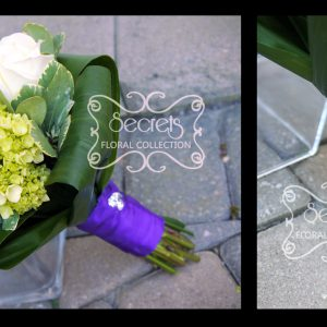 Fresh cream roses, white calla lilies, and baby green hydrangea bridesmaid bouquet, with royal purple satin wrap and crystal jewelry on it (close-ups) - Toronto Wedding Flowers Created by Secrets Floral Collection