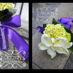Fresh white calla lilies and baby green hydrangea junior bridesmaid bouquet, with royal purple satin wrap and crystal embellishments (close-ups) - Toronto Wedding Flowers Created by Secrets Floral Collection