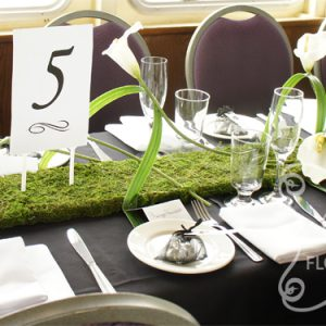 Artifcial White Calla Lilies on Moss Mat Guest Table Centrepiece, with Table Number (Front View)