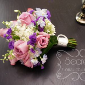 Bridal Bouquet -- Fresh Lavender Roses, Blue Delphinium, White Annabelle Hydrangea, Purple Statice, with Keepsake Swarovski Crystal Brooch