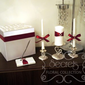 Red Wedding Accessories with Rhinestone Accent (Money Box, Signing Pen, Unity Candles and Stands)
