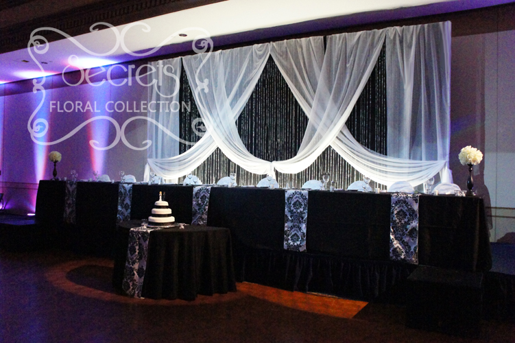 Damask archives secrets floral collection for Black and white reception tables