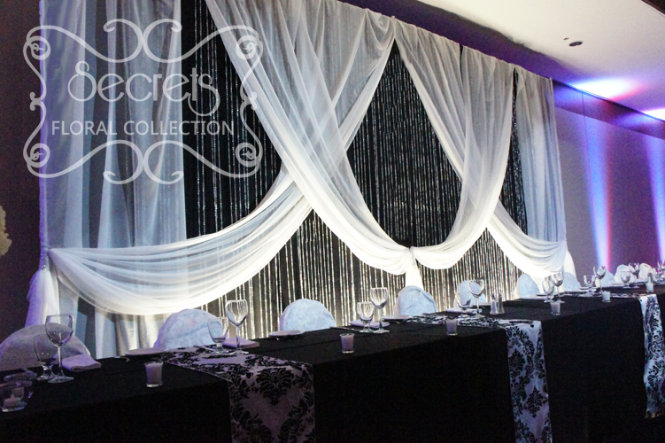 A Black And White Damask Wedding Reception Decoration