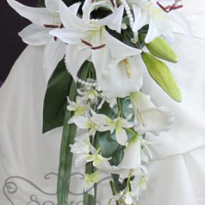 Artificial White Lilies, Calla Lilies, and Dendrobium Orchids Bridal Bouquet with Peal Accents