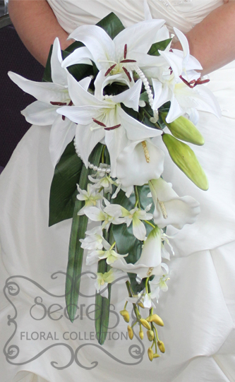 Artificial White Lilies Calla And Dendrobium Orchids Bridal Bouquet With Peal Accents