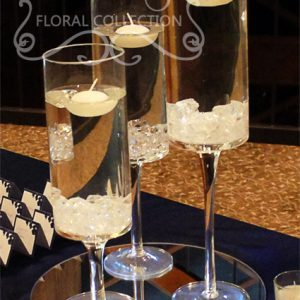 Glass Candle Set with Acrylic Ice and Floating Candles
