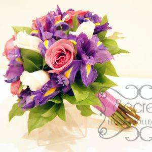 Fresh Lavender Roses, Cream Roses, and Purple Iris Bridal Bouquet with Lavender Satin Ribbon Wrap (Side View)
