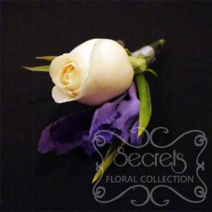Fresh Cream Rose and Purple Iris Boutonniere with Diamond Pin for the Groom (Side View)