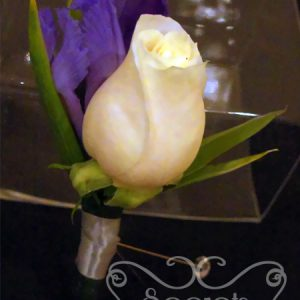 Fresh Cream Rose and Purple Iris Boutonniere with Diamond Pin for the Groom (Front View)