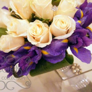 Fresh Cream Roses, Purple Iris, and Pittosporum Heart-Shaped Bridal Bouquet with Swarovski Crystal Jewel Picks (Side View)