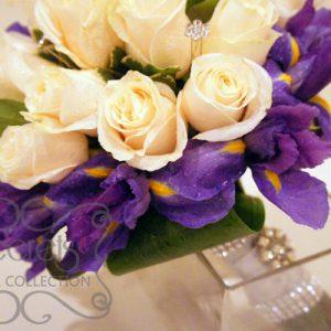 Fresh Cream Roses, Purple Iris, and Pittosporum Heart-Shaped Bridal Bouquet with Swarovski Crystal Jewel Picks (Side View)