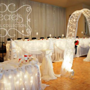 Backdrop, Head Table, Ceremony/Cake Table (Dual Usage), and Wedding Arch