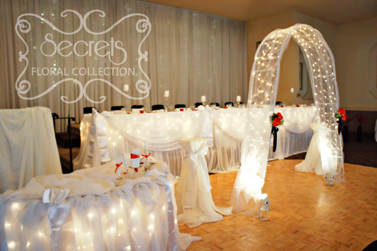 White Sheer Backdrop Head Table Ceremony or Cake Table