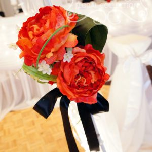 Close-Up of Red Bouquet Pull-Backs with Artificial Red Peonies