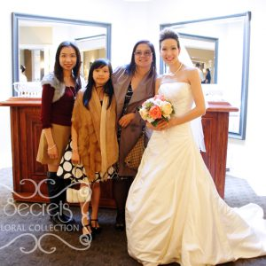 Beautiful bride with her friends and family