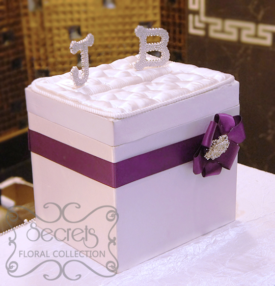 Our white satin money box embellished with purple accent and crystallized initials of the & A Crystallized Royal Purple and Silver Wedding Reception ... Aboutintivar.Com