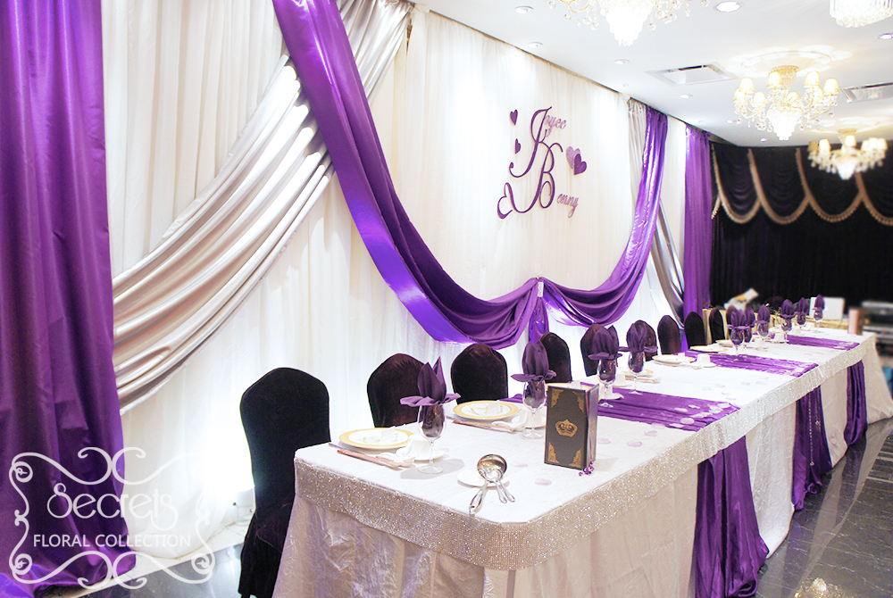 A crystallized royal purple and silver wedding reception - White and purple decorations ...