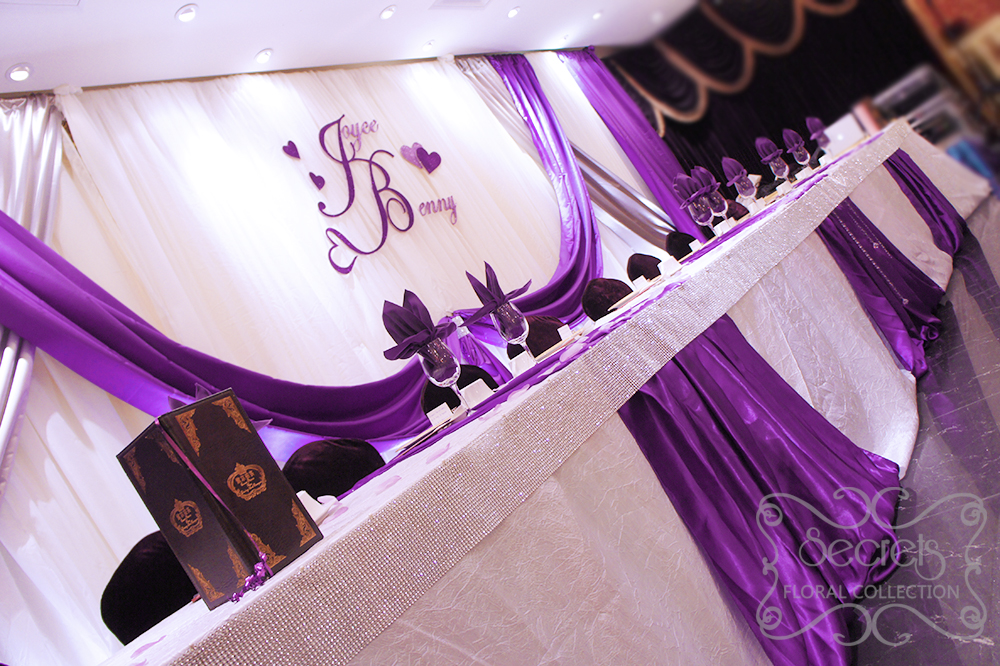 A Crystallized Royal Purple and Silver Wedding Reception Decoration ...