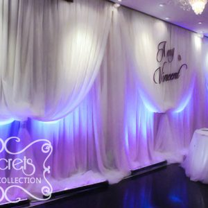 Extra Long Cream Voile Backdrop with White LED Washlights (Close-Up)