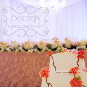 Beautiful Wedding Cake with Coral Roses