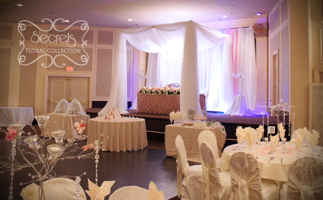 A Cream and Light Pink Backdrop behind Canopy & A Crystallized Canopy Wedding Reception Decoration | Toronto ...
