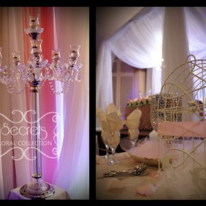 Wedding Details and Crystal Candelabra and Ivory Bird-Cage Money Box