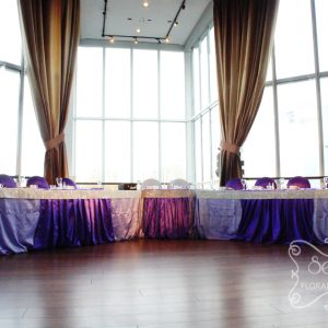 Lavender and royal purple crystallized head table