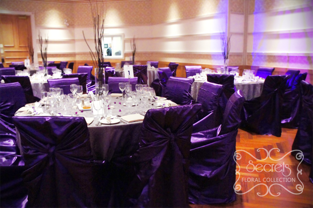 A purple and pewter silver wedding reception decoration toronto a purple and pewter silver wedding reception decoration toronto wedding decor secrets floral collection junglespirit Image collections