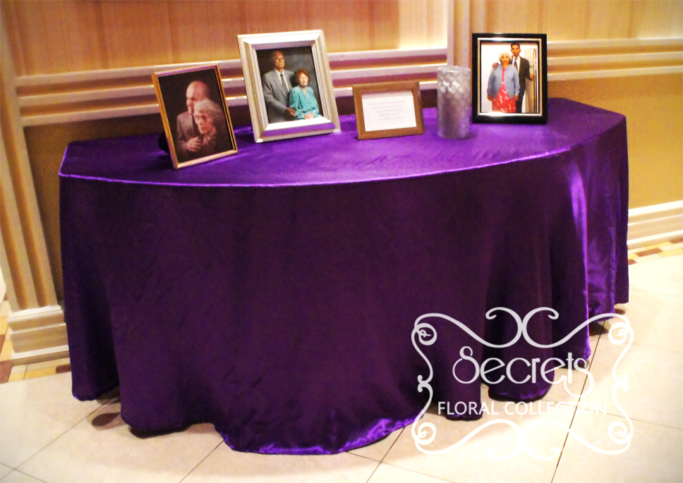 A Purple And Pewter Silver Wedding Reception Decoration Toronto
