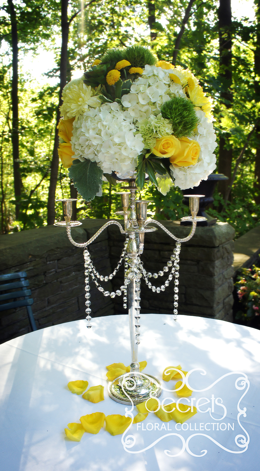 A modern yellow and silver wedding decoration toronto wedding elevated cream green and yellow centrepieces were used in the ceremony as well junglespirit Images