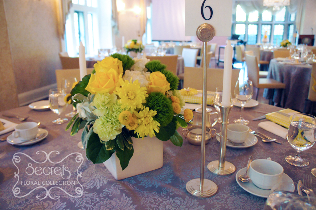 A modern yellow and silver wedding decoration toronto wedding low profile centrepiece with fresh yellow roses yellow cushion mums green trick dianthus junglespirit Images