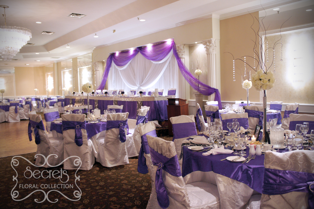 Decorations archives secrets floral collection guest tables are dressed with purple overlay and damask runner chairs are tied with purple junglespirit