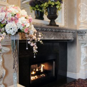 Cream, pink, peach, coral, and green ceremony altar arrangements - Toronto Wedding Decor Created by Secrets Floral Collection