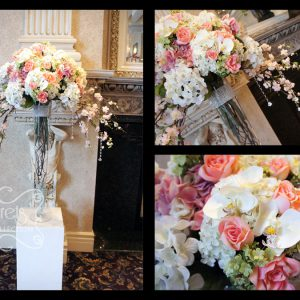 Altar arrangement with pink and cream hydrangeas, peach roses, white phalaenopsis, green lilac, and pink cherry blooms, with hanging crystal strands - Toronto Wedding Decor Created by Secrets Floral Collection