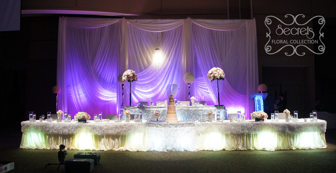 A romantic reception decoration with ruffles and crystals toronto a cream and pink wedding reception decoration filled with crystals and ruffles at paramount conference junglespirit Choice Image