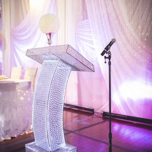 Real crystal podium, illuminated with white LED. Photo by Andes Lo Photography - Toronto Wedding Decor Created by Secrets Floral Collection