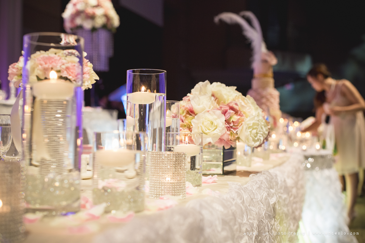 A romantic reception decoration with ruffles and crystals for Decor vendors