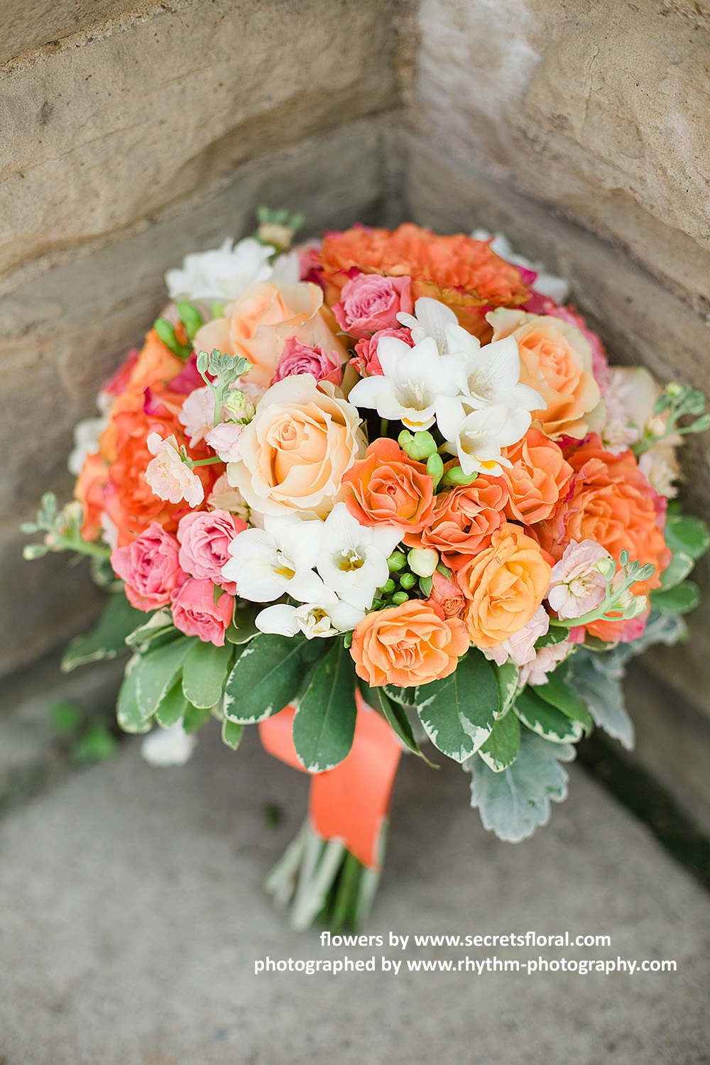 Bridal bouquets secrets floral collection toronto wedding flowers a colourful and vibrant bridal bouquet with fresh coral garden roses free spirit mightylinksfo