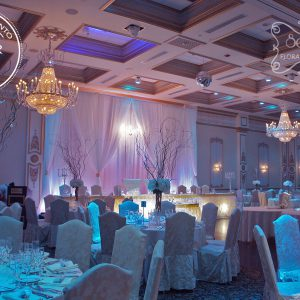 "Winter wonderland wedding reception flowers and decor, rewarded by EventSource for ""Best of Toronto Décor 2015"" - Toronto Wedding Decor Created by Secrets Floral Collection"
