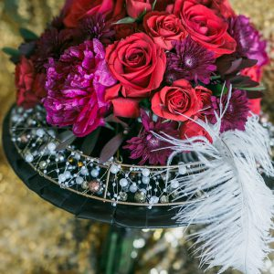 Art-Deco and Great Gatsby Inspired bouquet. Photo by Rhythm Photography. Flowers by Secrets Floral