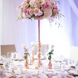 Large centrepiece on gold stand, at the Shangri-La Hotel. Flower and decor by Secrets Floral.